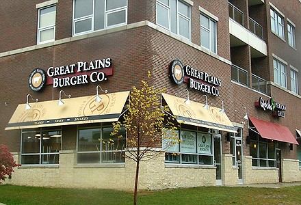 Great Plains and Qdoba business awnings