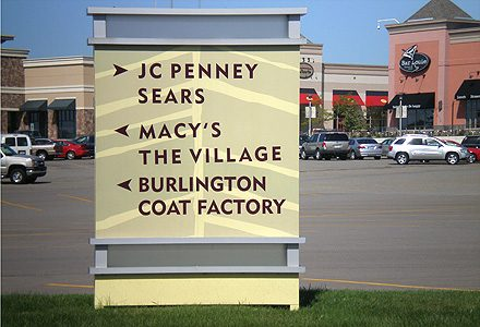 directional sign for shopping center