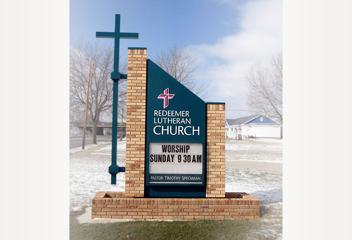 redeemer lutheran church sign by crannie
