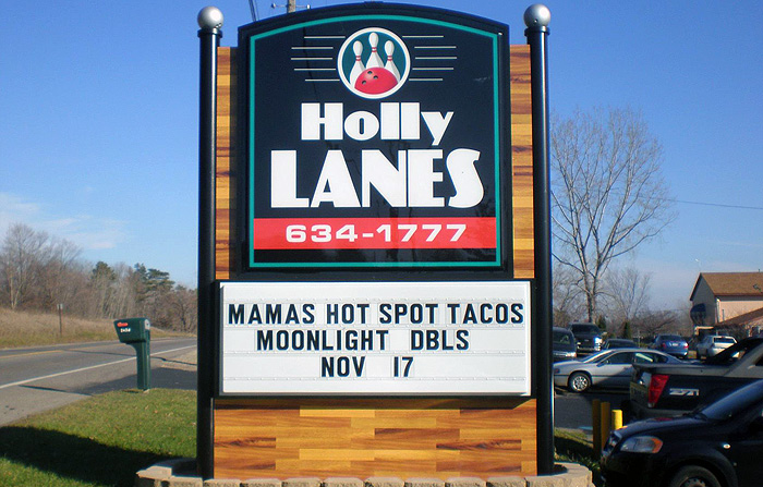 Holly Lanes Bowling sign in Holly Michigan created by Signs by Crannie