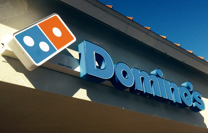 dominos pizza channel letters sign florida