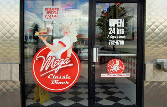 window graphic for diner