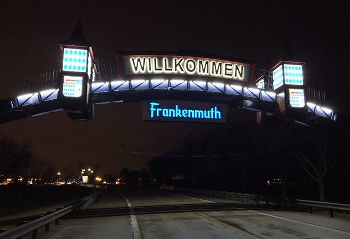 frankenmuth arch sign at night
