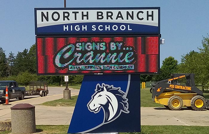 pylon digital sign for high school