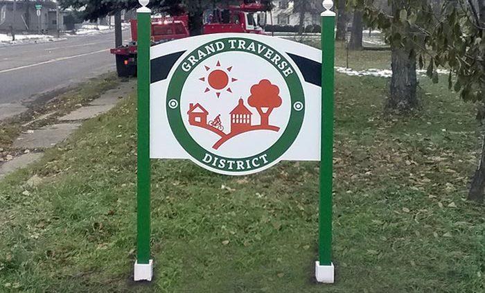 wayfinding sign grand traverse neighborhood, Flint, MI