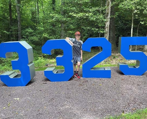 large metal numbers sign